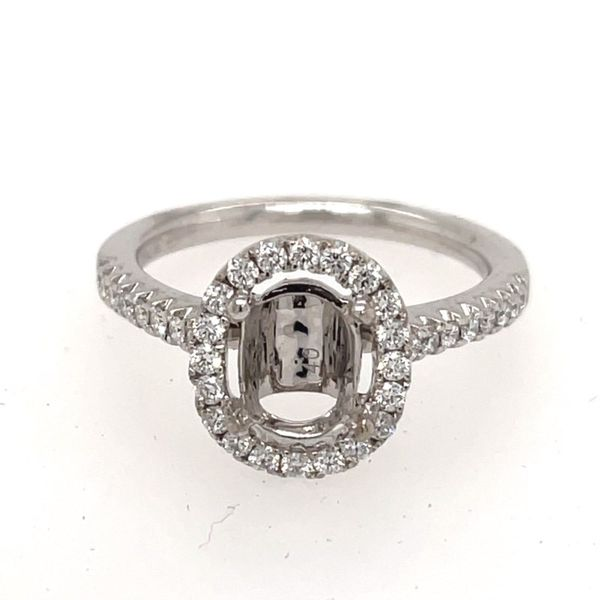 18K White Gold Halo-Style Diamond Engagement Ring Semi-Mounting E.M. Smith Family Jewelers Chillicothe, OH