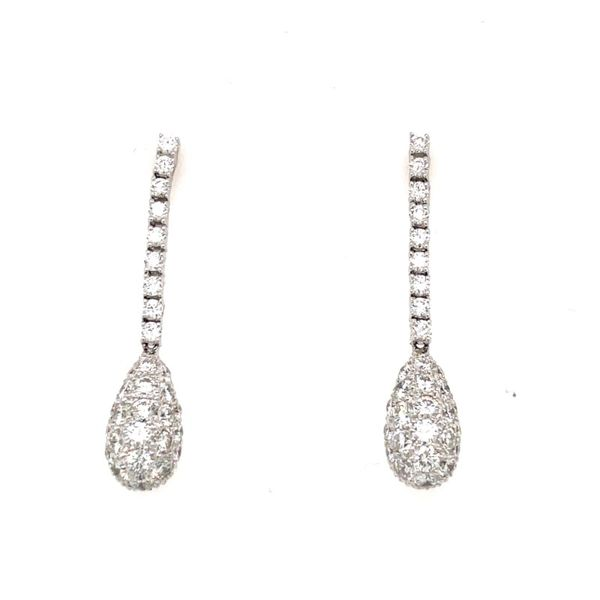 18K White Gold Diamond Dangle Earrings E.M. Smith Family Jewelers Chillicothe, OH