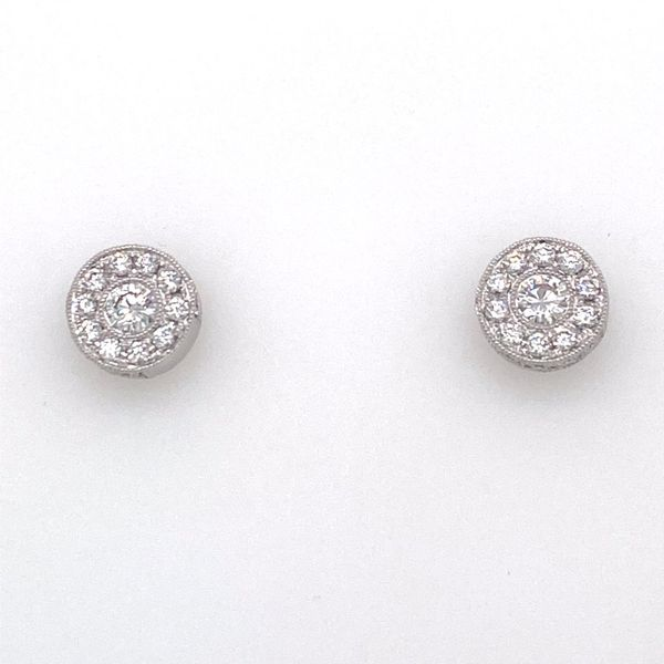 Platinum Diamond Cluster Earrings E.M. Smith Family Jewelers Chillicothe, OH