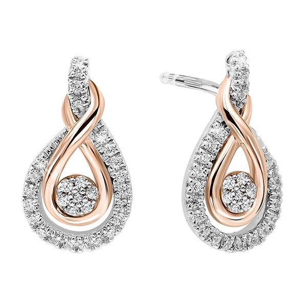 14K Rose Gold/Sterling Silver Diamond Earrings E.M. Smith Family Jewelers Chillicothe, OH