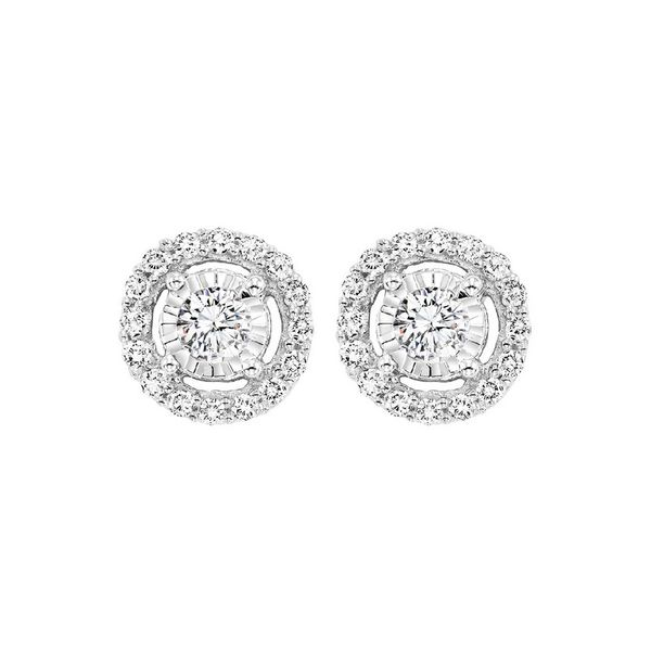 14K White Gold Diamond Halo Earrings E.M. Smith Family Jewelers Chillicothe, OH