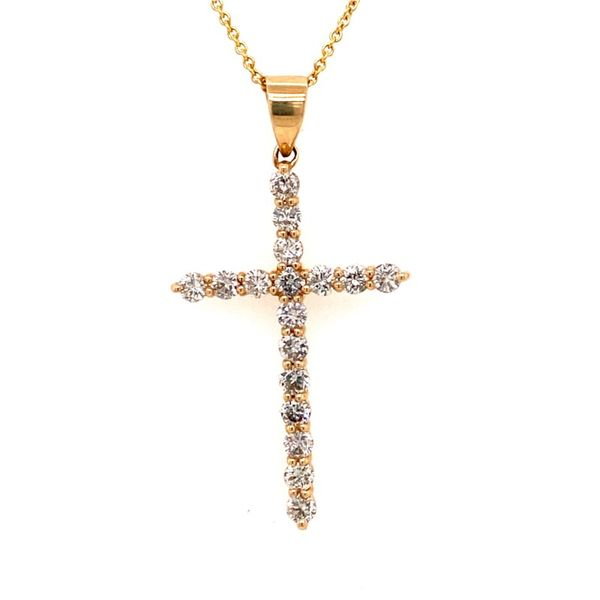 14K Yellow Gold Diamond Cross Pendant E.M. Family Smith Jewelers Chillicothe, OH
