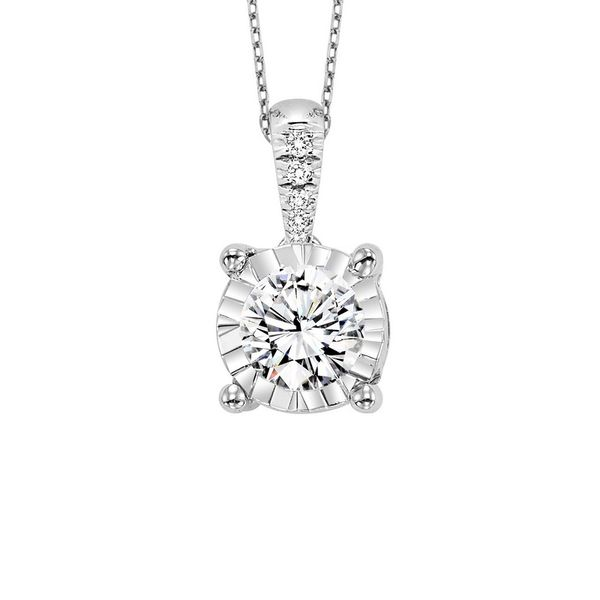 14K White Gold Diamond Solitaire Pendant E.M. Smith Family Jewelers Chillicothe, OH