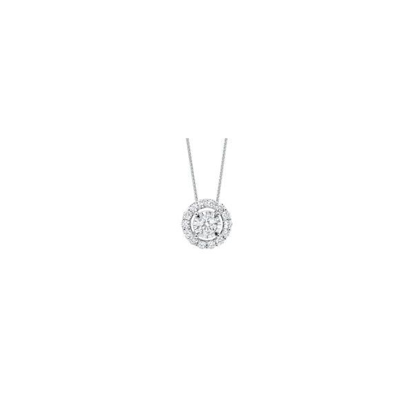 14K White Gold Diamond Halo Pendant E.M. Smith Family Jewelers Chillicothe, OH