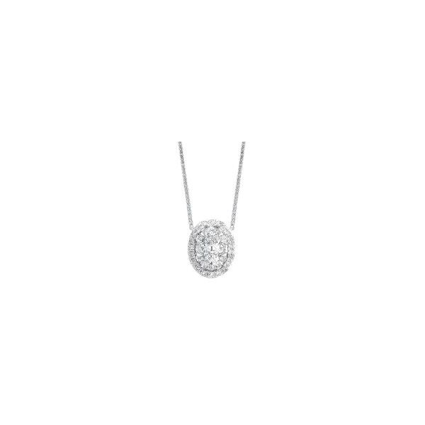 14K White Gold Oval Diamond Cluster Pendant E.M. Smith Family Jewelers Chillicothe, OH