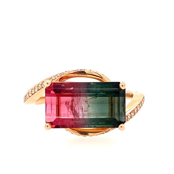 14K Rose Gold Bi-Colorled Watermelon Tourmaline Custom Ring E.M. Smith Family Jewelers Chillicothe, OH