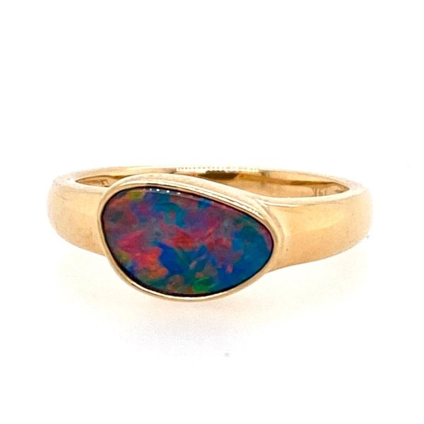14K Yellow Gold Australian Opal Doublet Ring E.M. Smith Family Jewelers Chillicothe, OH