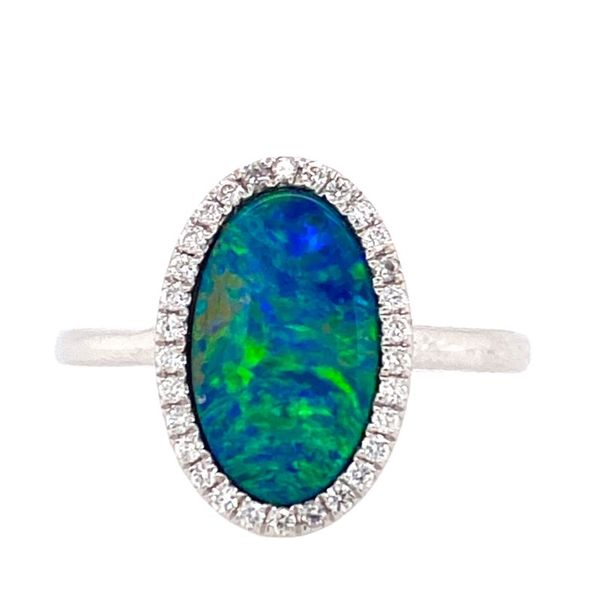 14K White Gold Australian Opal/Diamond Ring E.M. Smith Family Jewelers Chillicothe, OH