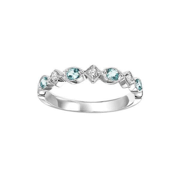 10K White Gold Blue Topaz and Diamond Band E.M. Smith Family Jewelers Chillicothe, OH