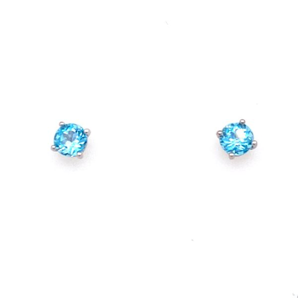 10K White Gold Blue Topaz Stud Earrings E.M. Smith Family Jewelers Chillicothe, OH