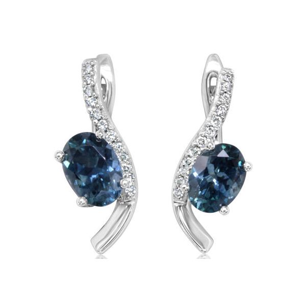 14K White Gold Montana Blue Sapphire Earrings E.M. Family Smith Jewelers Chillicothe, OH