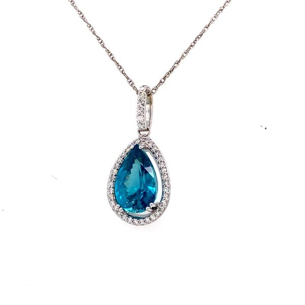 14K White Gold Teardrop Blue Zircon Pendant E.M. Family Smith Jewelers Chillicothe, OH