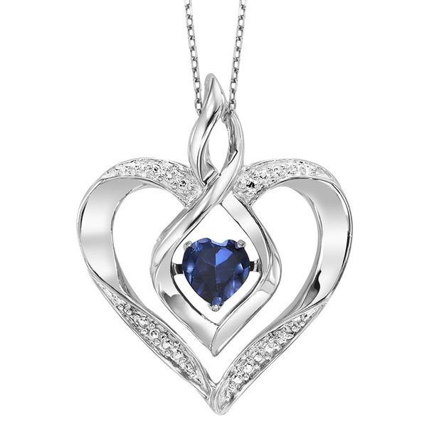 Sterling Silver Blue Sapphire Rhythm of Love Heart Pendant E.M. Smith Family Jewelers Chillicothe, OH
