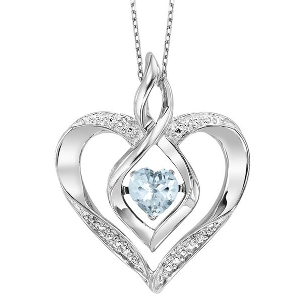 Sterling Silver Aquamarine Rhythm of Love Heart Pendant E.M. Smith Family Jewelers Chillicothe, OH
