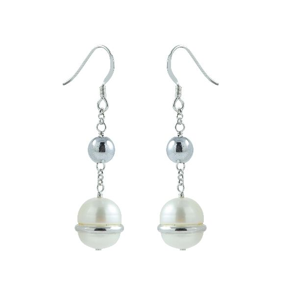 Sterling Silver Earrings with White Freshwater Pearls and Hematite Beads E.M. Family Smith Jewelers Chillicothe, OH