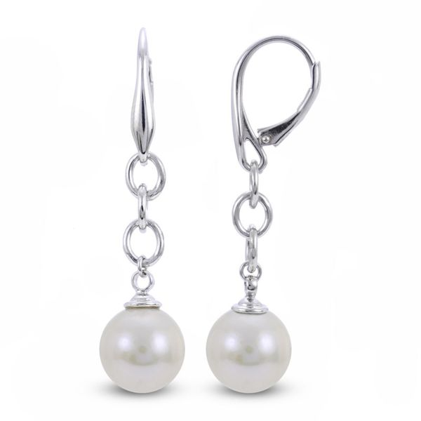 Sterling Silver White Freshwater Pearl Drop Earrings E.M. Family Smith Jewelers Chillicothe, OH