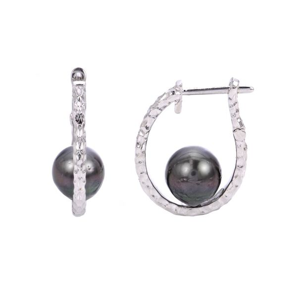 Sterling Silver Tahitian Cultured Pearl Hoop Earrings E.M. Smith Family Jewelers Chillicothe, OH