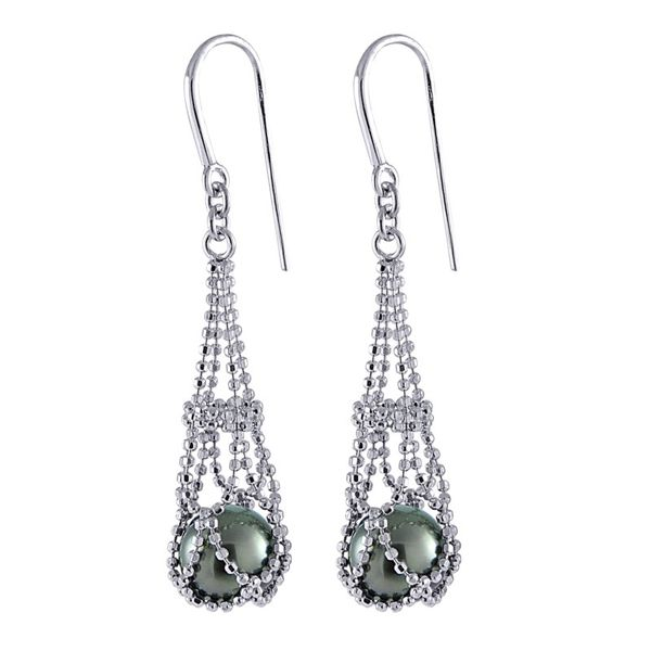 Sterling Silver Imperial Lace Tahitian Pearl Earrings E.M. Smith Family Jewelers Chillicothe, OH