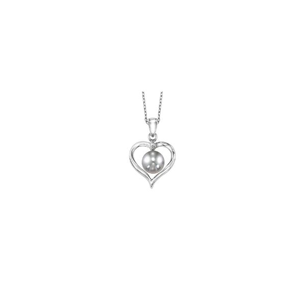 Sterling Silver Heart Necklace with Gray Freshwater Pearl E.M. Smith Family Jewelers Chillicothe, OH