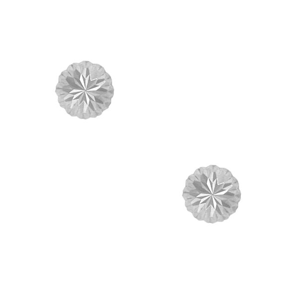 14K White Gold Diamond-Cut Stud Earrings E.M. Family Smith Jewelers Chillicothe, OH