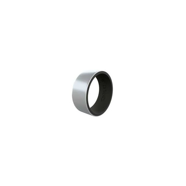 QALO Men's Silver/Black Black Strata Silicone Ring. Size 13.0 E.M. Family Smith Jewelers Chillicothe, OH