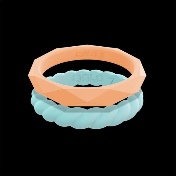 QALO Standard Women's Stackable Silicone Ring Set. (Peach Geo/Pacific Opal Twist).  Size 7.0 E.M. Family Smith Jewelers Chillicothe, OH