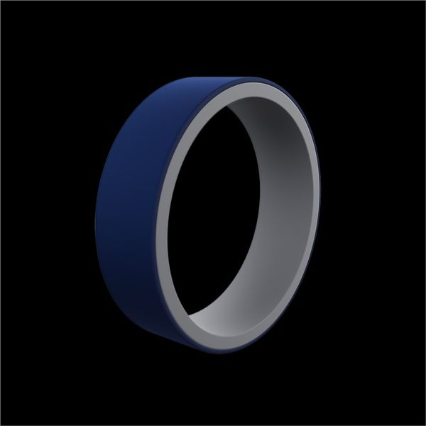 QALO Standard Men's Switch Reversible True Blue/Light Grey Silicone Ring. Size 12.0 E.M. Family Smith Jewelers Chillicothe, OH