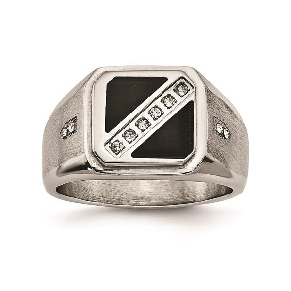 Stainless Steel Black Enamel/CZ Ring E.M. Smith Family Jewelers Chillicothe, OH