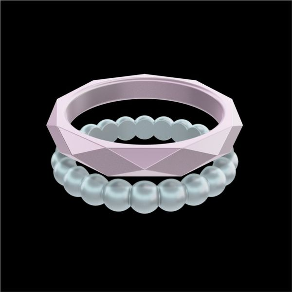 QALO Standard Women's Stackable Silicone Ring Set. (Amethyst Geo/Silver Bead).  Size 6.0 E.M. Smith Family Jewelers Chillicothe, OH