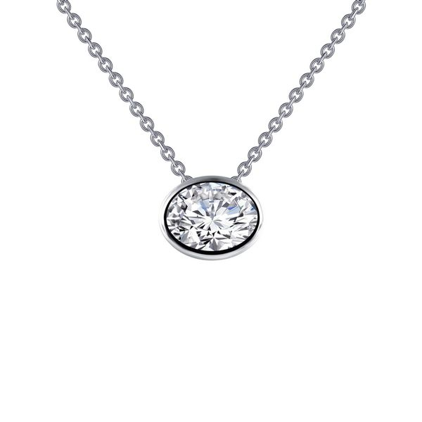 Bezel-Set Oval Simulated Diamond Solitaire Pendant E.M. Smith Jewelers Chillicothe, OH