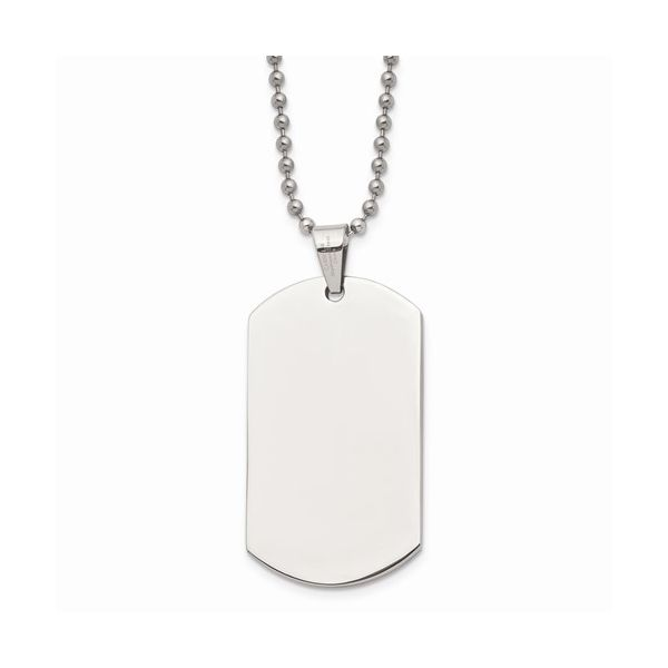Stainless Steel Polished Dog Tag Necklace E.M. Family Smith Jewelers Chillicothe, OH