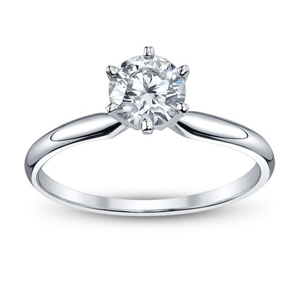 Solitaire engagement ring with 1.01 carat round diamond Enhancery Jewelers San Diego, CA