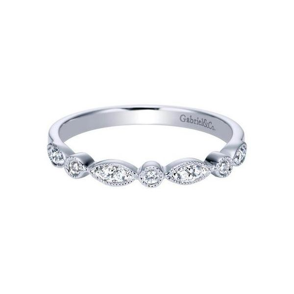 GABRIEL & CO  WB3848 14k White Gold Diamond Scalloped  Wedding Band, Enhancery Jewelers San Diego, CA