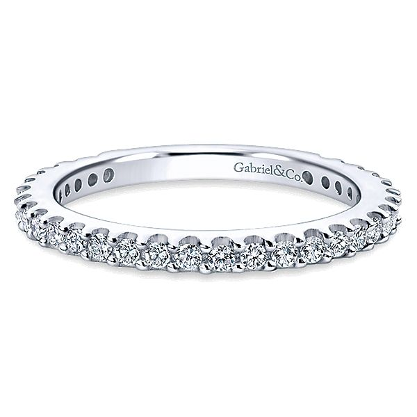 Gabriel & Co WB4124 14k White Gold Full Anniversary Wedding Band Enhancery Jewelers San Diego, CA