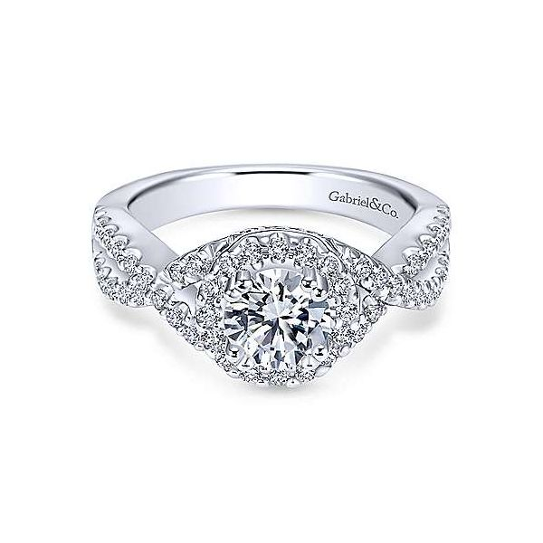 GABRIEL & CO ER5798 14k White Gold Diamond Halo Engagement Ring Enhancery Jewelers San Diego, CA
