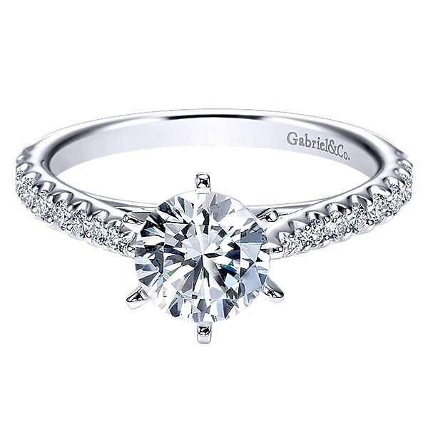 Gabriel ER6692 Diamond Engagement Ring, 14K White Gold Semi-Mount With  20= .35ct Round Diamonds Also available in Rose Gold, Ye Enhancery Jewelers San Diego, CA