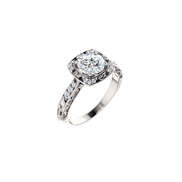 Vintage-Inspired Halo  Diamond Engagement Ring Enhancery Jewelers San Diego, CA