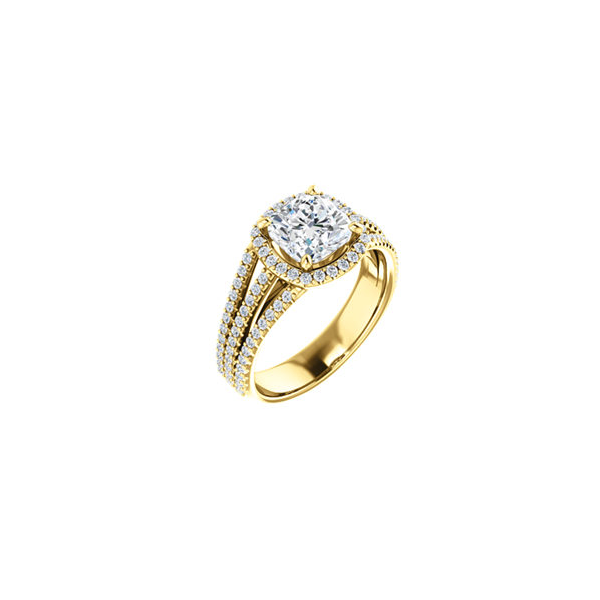 Yellow gold halo diamond engagement ring Enhancery Jewelers San Diego, CA