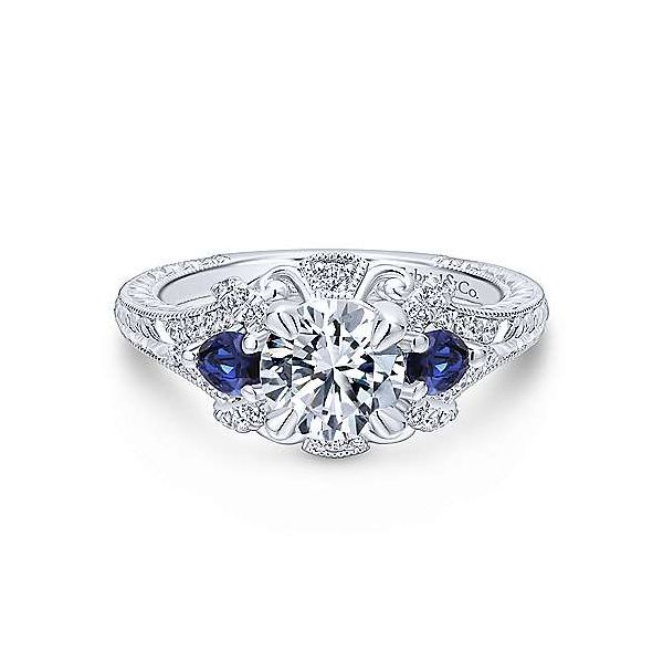 Gabriel ER12582R4 ,14K White Gold Diamond/Sapphire Engagement Ring Enhancery Jewelers San Diego, CA