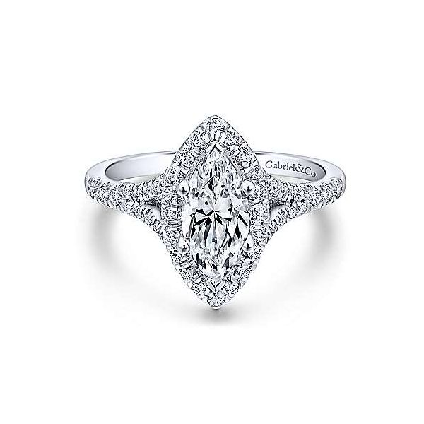 Gabriel ER12649M4ALZJJ 14K White Gold Diamond Engagement Ring semi mount w/.63ct tw ,.Center stone not included, Also available  Enhancery Jewelers San Diego, CA