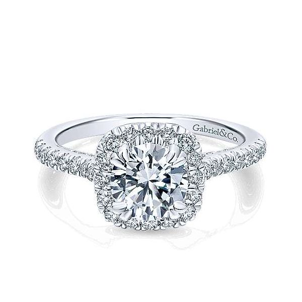 Gabriel & Co.White ER12664R4 14 Karat Halo Ring Enhancery Jewelers San Diego, CA