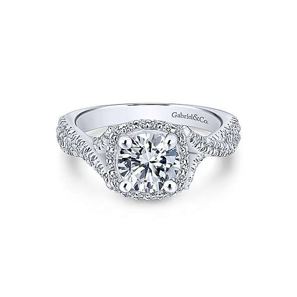 Gabriel & Co.White ER12680R4 14 Karat Twisted Halo Diamond Engagement  Ring Enhancery Jewelers San Diego, CA