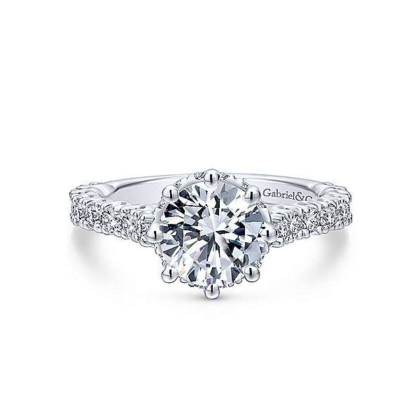 Gabriel & Co.White ER12753R6  14 Karat 8 Prong Diamond Engagement Ring  With 28=0.74Tw Round Diamonds And Is Shown With One 1.50 Enhancery Jewelers San Diego, CA