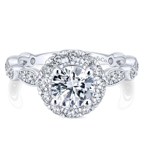 Gabriel diamond halo engagement ring Enhancery Jewelers San Diego, CA
