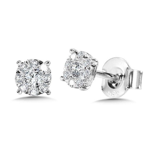 Cluster Diamond Earrings Enhancery Jewelers San Diego, CA