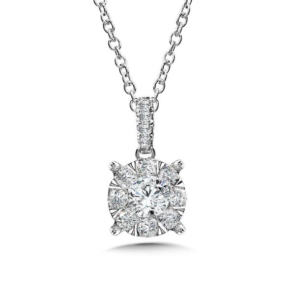 White Gold Diamond Cluster Necklace Enhancery Jewelers San Diego, CA