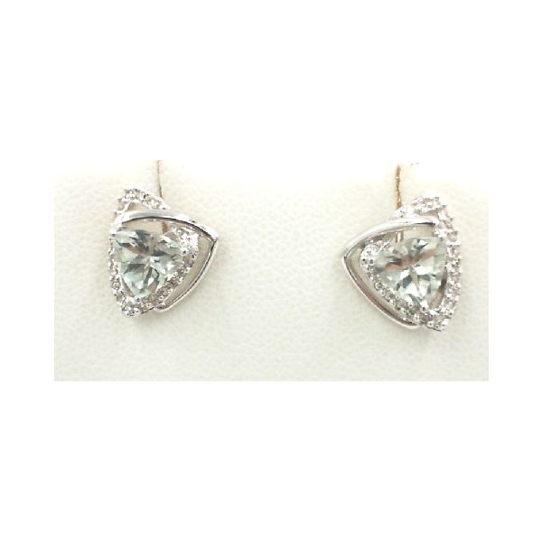 Green amethyst earrings Enhancery Jewelers San Diego, CA