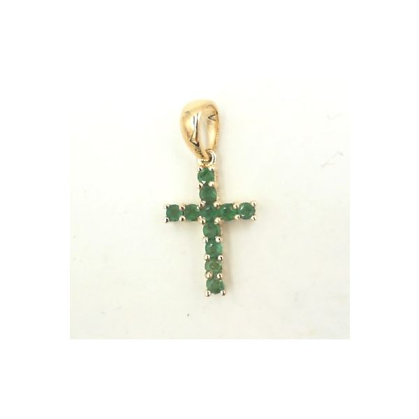 Yellow gold cross with emeralds Enhancery Jewelers San Diego, CA