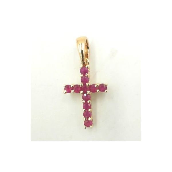 Yellow gold ruby cross Enhancery Jewelers San Diego, CA