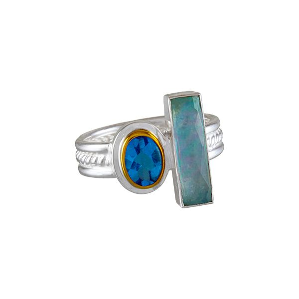 Silver ring with multi color gemstones Enhancery Jewelers San Diego, CA